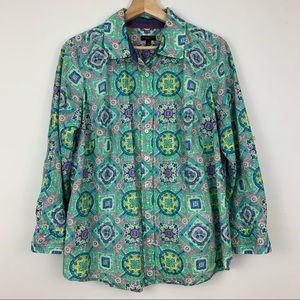 Talbots Multicolored Damask Button Down Shirt Plus